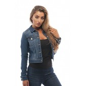 Womens Basic Button Down Denim Jean Jacket