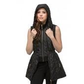 JEZEEL Women's Quilted Padding Long Vest Front Details W/Detachable Hood (JZPV004)