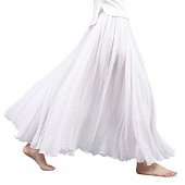 Asher Women's Bohemian Style Elastic Waist Band Cotton Linen Long Maxi Skirt Dress Waist 23.0