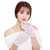 1Pair Women's Lace Hollow-Out Sun Protection Skid Resistance Pattern Lace Gloves Red