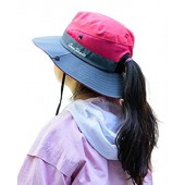 JasWell Adjustable Foldable Ponytail Sun Hat Wide Brim Beach Bucket Cap for Girls Kids