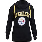 LockQ Womens Sporty Football Steelers V-Neck Sweatshirt Pullover Hoodie