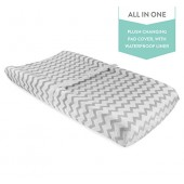 Waterproof Plush Change Pad Cover 100% Cotton Grey and White Chevron Velvet by Ely's & Co no need for Changing Pad Liner