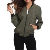 MISS MOLY Women's Zip Up Lightweight Coat Rib Collar Multi-Pockets Bomber Jacket