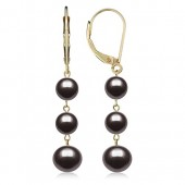 14k Yellow Gold Cultured Freshwater Pearl Trio Dangle Drop Earrings