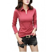 Smartprix Womens Cotton Long Sleeve t Shirts Solid Color Casual V Neck Polo T Shirt Tops