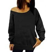TWKIOUE Women's Sweatshirts Wifey Letter Print Slouchy Pullover Off Shoulder Sweatshirt