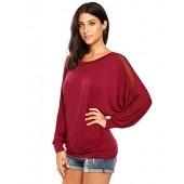 Zeagoo Women's Casual Long Batwing Sleeve Drape Top Patchwork Jersey T Shirts
