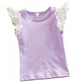Kayla qin Baby Infant Girls Vest Tanks Tops Pure Cotton Wing Lace Basic T-Shirt 3 Month-5 Years