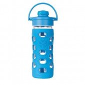 Lifefactory 12-Ounce BPA-Free Glass Water Bottle with Flip Cap and Silicone Sleeve