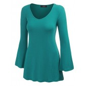 Lock and Love LL Womens Solid/Dip Dye V Neck Long Bell Sleeves Tunic Top Blouse - Made in USA