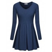 BEPEI Women Sweatheart V Neck Fit and Flare Long Sleeve Fall Tunic Peplum Tops