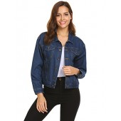Easther Women's Classic Denim Jean Jacket With Pockets
