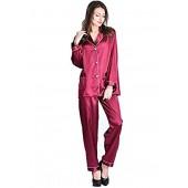 Juntian Satin Pajamas for Women Women's Pjs Sets Loungewear Sleepwear Ladies Satin Pajamas Button Down Long Pajamas