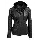 Involand Womens Plus Size Faux Leather Moto Biker Zip Up Hoodie Jacket