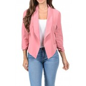 Aulin Collection Womens Casual Lightweight 3/4 Sleeve Fitted Open Blazer