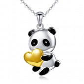 S925 Sterling Silver Cute Panda Love Heart Necklace for Women Girl, Rolo Chain 18