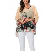 LeaLac Women Summer Floral Printed Shirt Batwing Sleeve Top Chiffon Poncho Casual Loose Blouse