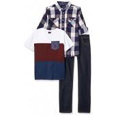 U.S. Polo Assn. Big Boys Long Sleeve Shirt, T-Shirt and Pant Set