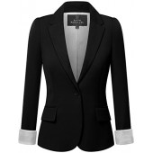 Fifth Parallel Threads FPT Womens' Regular Fit Classic Striped Wrist Lining Blazer