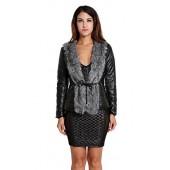 9fe1d96b1aa Etuoji Women Short Leather Jacket With Faux Fur Collar Coat Drawstring  Waist Design (Black)