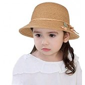 Girls Summer Straw Bowknot Sun Hat with Flowers Outdoor Beach Sun Protection Cap 4-8 T