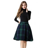 Tanming Women's High Waisted Wool Check Print Plaid Aline Skirt