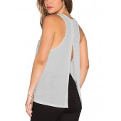 Mazonyi Women's Open Back Yoga Tank Sleeveless Off Shoulder Workout T Shirt Backless Crop Tops Workout Clothes Size XS-XXL