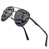 프리미엄 밀리터리 남성용 비행사 편광 선글라스 여성용 코팅 미러 선글라스, 100% UV