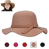 AStorePlus Classic Kids Girls Floppy Hat, Brown Elegant Vintage Wide Bobble Brim Fedora Cap Female Summer Beach Sun hat