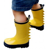 Outee Toddler Kids Boys Rain Boots Rubber Waterproof Shoes Yellow Shark Fin In Solid Color For Little Big Kids