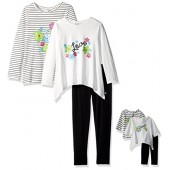 Dollie & Me Big Girls' 2 Knit Tops and Legging with Matching Doll Outfit