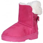 bebe Girls' Faux Fur Lined Winter Boots with Back Bow (Toddler/Little Kid/Big Kid)