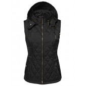 Made by Emma MBE Women's Quilted Zip Up Vest With Detachable Hood