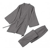 Soojun Men's Solid Color Kimono Top with Pocket and Pant Pajamas Set