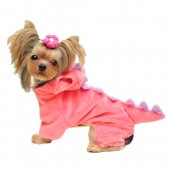 FanQube Pet Plush Outfit Dinosaur Costume with Hood for Small Dogs & Cats Spring Winter Jumpsuit Coat