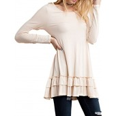 Easel Women's Ruffle Hem Tunic Top Long Sleeve