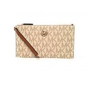 Michael Kors Fulton Leather Clutch Wristlet Wallet Vanilla Acorn PVC