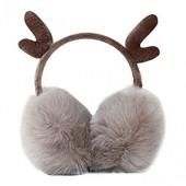 ManxiVoo Christmas Cartoon Antlers Elk Earmuffs Foldable Windproof Warm Ear Warmers for Baby Kids
