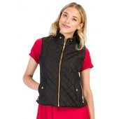 PINMUSE Women's Light Weight Zip up Front Quilted Padded Vest W Pockets S To 3XL