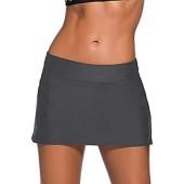 Gooket Women's Low Rise Swim Skirt Solid Color Waistband Skort Bikini Bottom