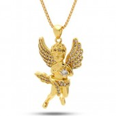 14K Gold Plated CZ Mini Angel Necklace