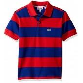 Lacoste Boys' Short Sleeve Bar Stripe Polo Shirt