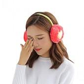 Wansan Plush Earmuffs Winter Fluffy Heart Embroidery Soft Warmers for Women Girls Ear Warmer