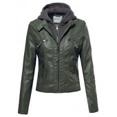 Made by Emma MBE Women's Faux Leather Rider Detachable Hoodie Jacket Various Colors