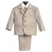 Boy's 3 Button 5 Piece Suit with Shirt, Vest, and Tie
