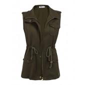 Qearl Women's Zip Up Drawstring Anorak Jacket Military Vest w/Pockets