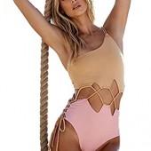 Classical City Women One Shoulder Sexy Swimsuit Bandage Hollow Out Bathing Suit Monokini Bikini