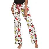 Dr.Seuss Women's Naughty Grinch Fairisle Plush Pant