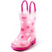 Puddle Play Toddler and Kids Rain Boots With Easy On Handles - Boys and Girls Colors and Designs  by